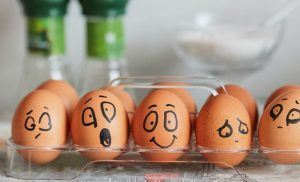 Eggs with faces drawn on them